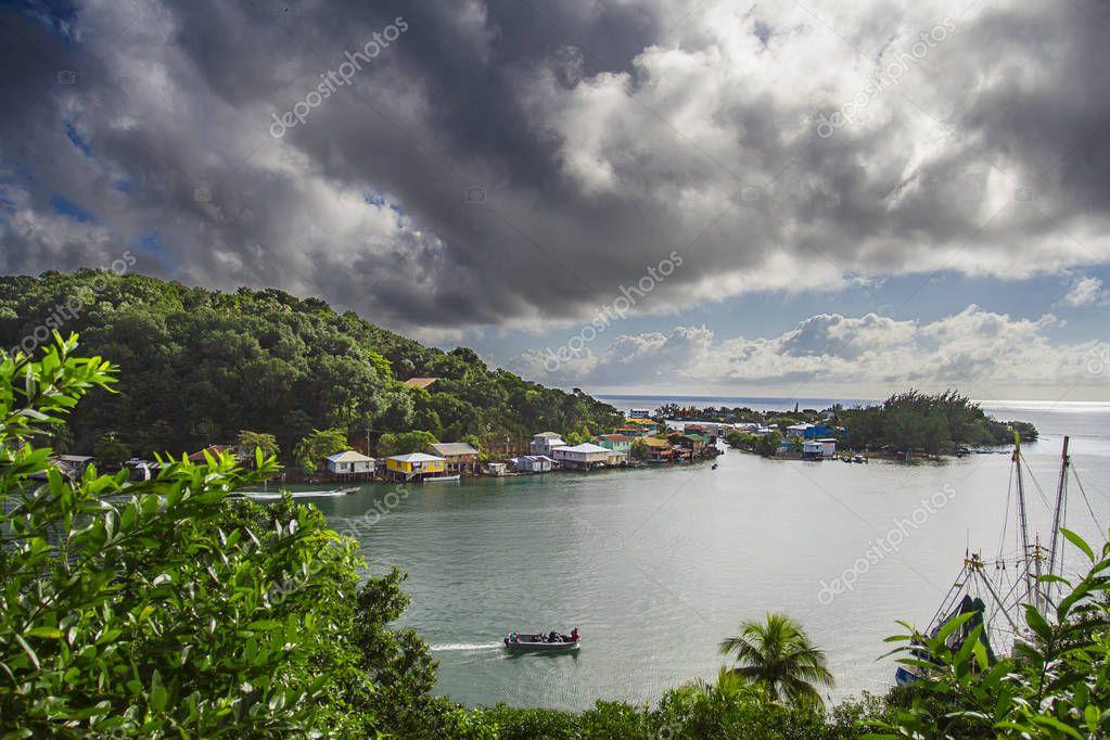 Small village on the shore of Roatan