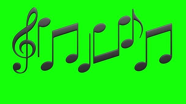 3d renderelt animáció elvont zenei jegyzetek zöld képernyőn