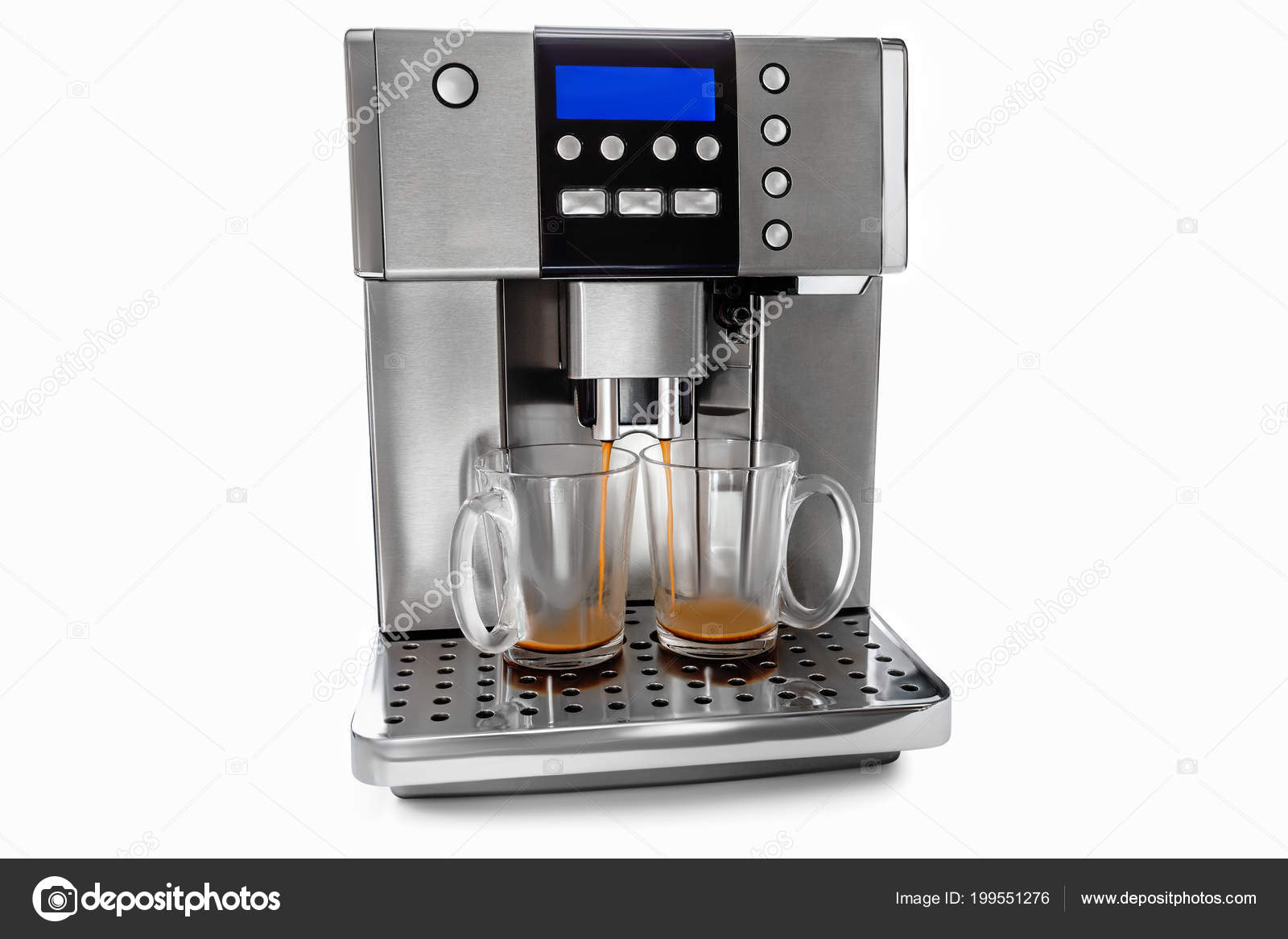 Automatic Coffee Maker Two Cups Coffee Milk Jug White Background