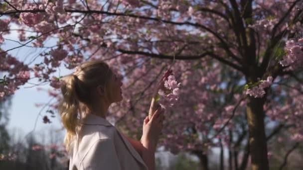 Fiatal fehér kaukázusi nő élvezi sakura cseresznyevirág fa a részben Európában Riga Lettország