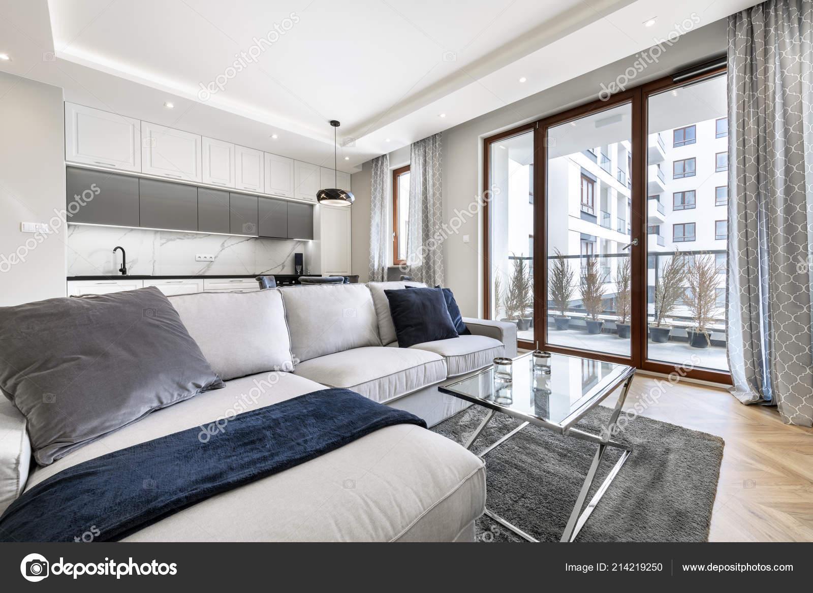 Soggiorno Moderno Cucina Appartamento Elegante — Foto Stock ...