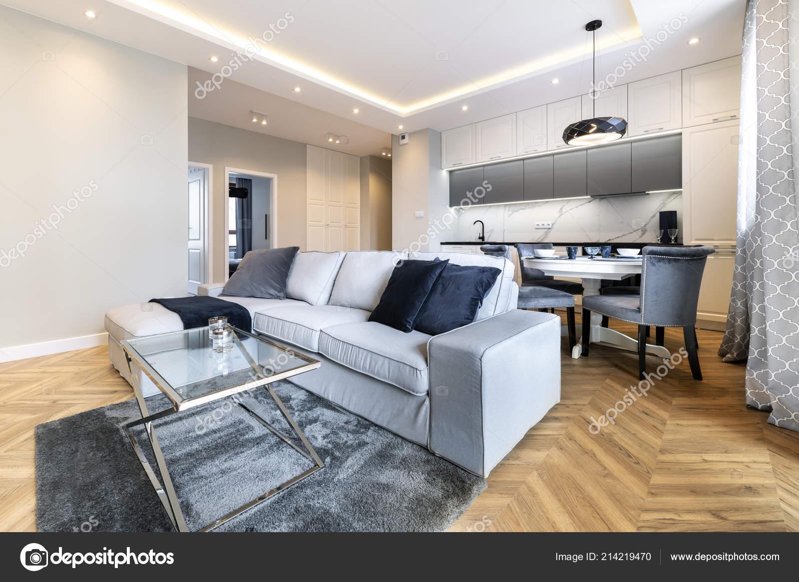 Moderne Wohnzimmer Und Küche Stilvolle Wohnung — Stockfoto ...