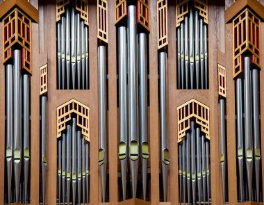 Organ pipes of the great organ in the Cathedral of Brussels, Belgium