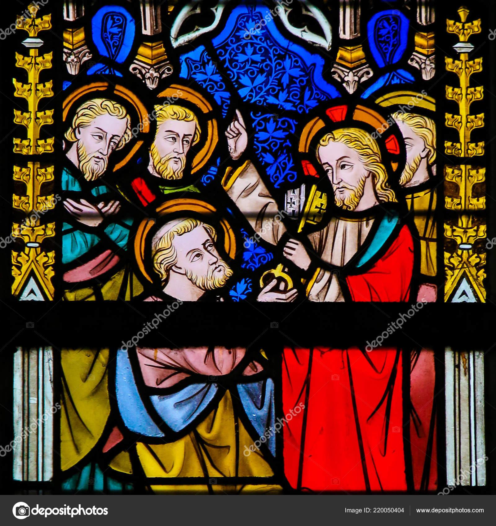 Ghent Belgium December 2016 Stained Glass Depicting Jesus Handing