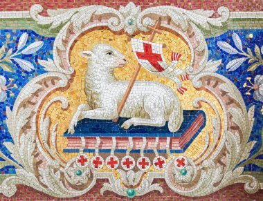 Lamb of God (Agnus Dei) mosaic in the Martini church in Braunschweig, Niedersachsen, Germany.