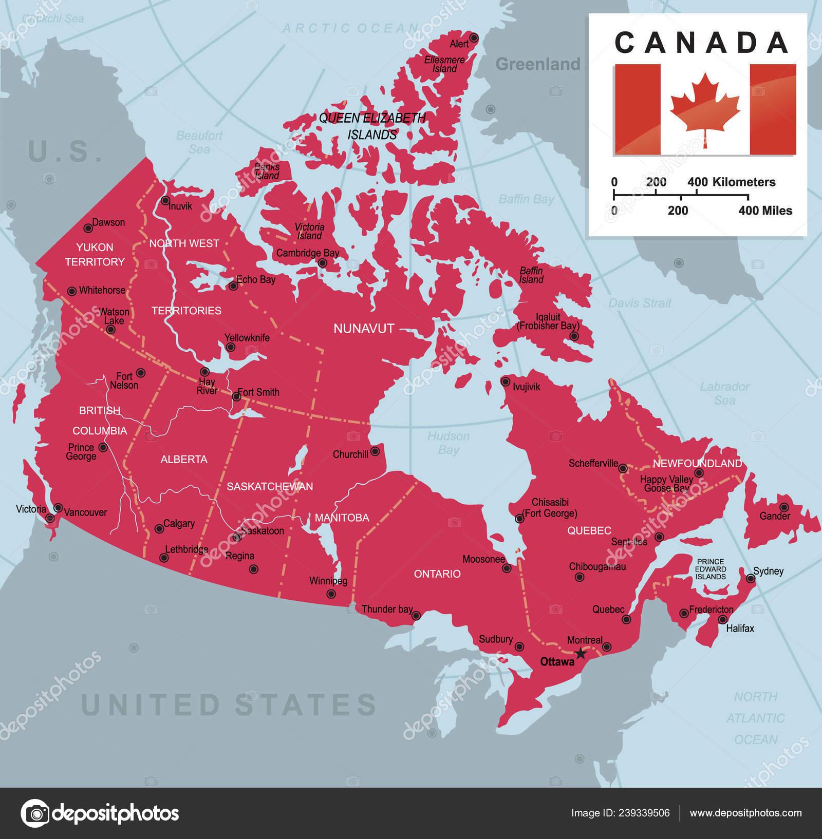Carte Canada Avec Ville.Grande Carte Canada Avec Les Provinces Villes Vector Illustration