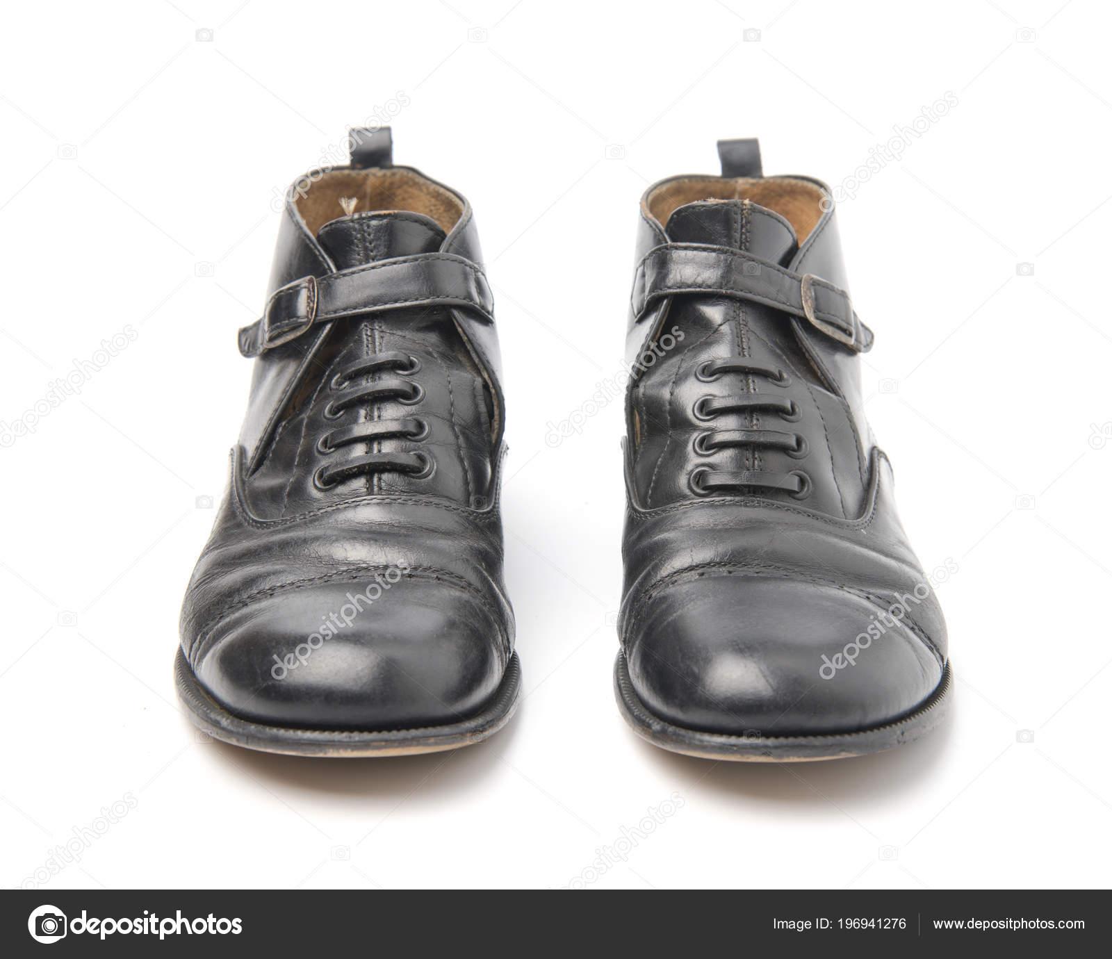 Scarpe Usate Foto Uomo Bianco Stock — Paio Isolate Sfondo Affari YIDE29WH
