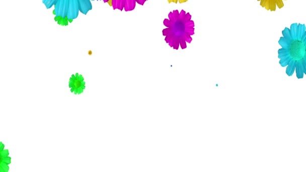 generated animation of colorful flowers on a white background.