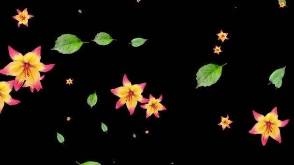 generierte Animation von Blumen und Lilienblättern auf schwarzem Hintergrund.