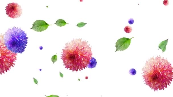 generated animation of flowers and leaves on a white background.