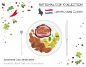Photo Luxembourg Cuisine. European national dish collection. Smoked collar of pork with broad of beans isolated on white, infographic. Vector illustration