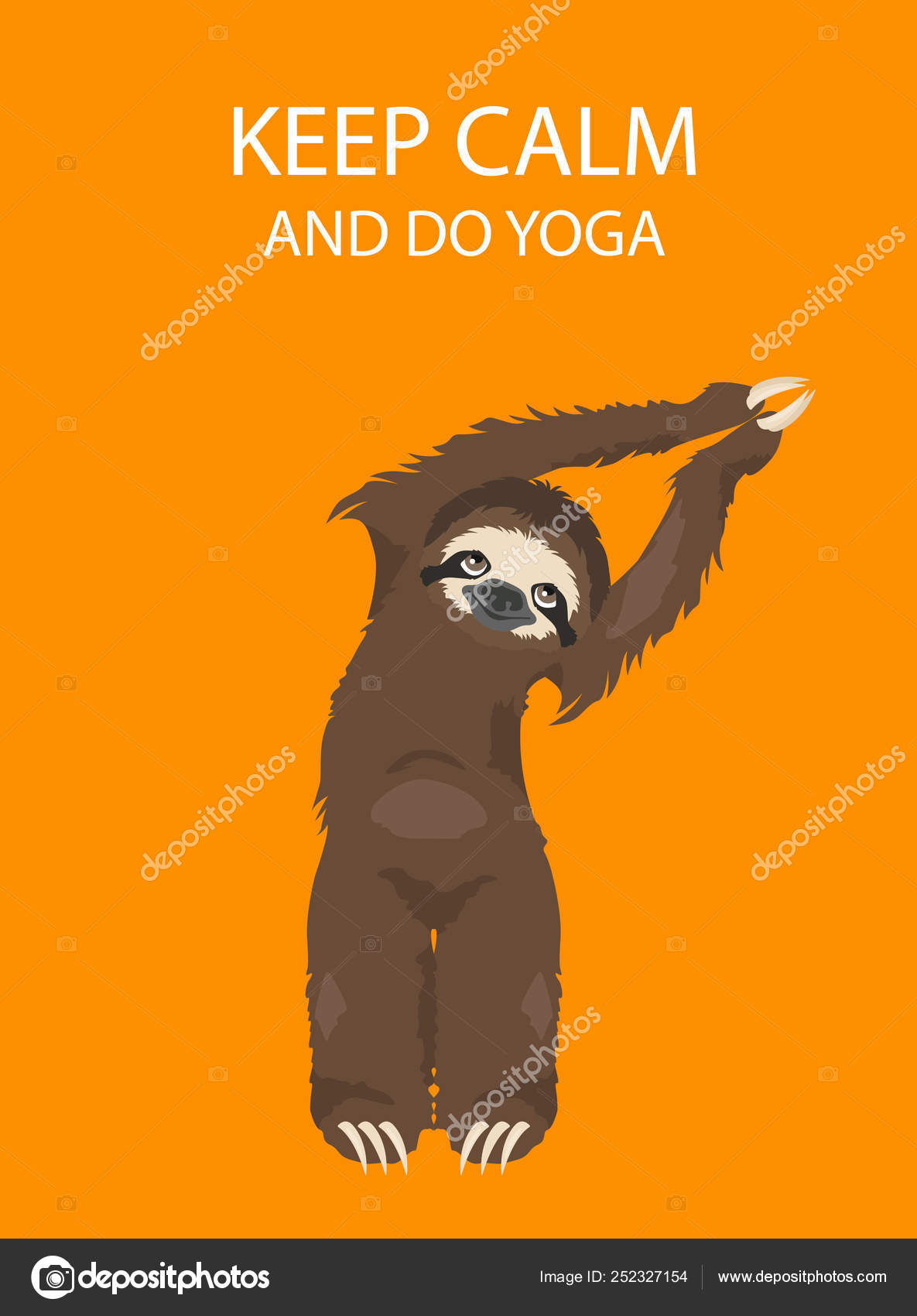 Sloth Yoga Collection Funny Cartoon Animals In Different Postur Stock Vector C A7880s 252327154