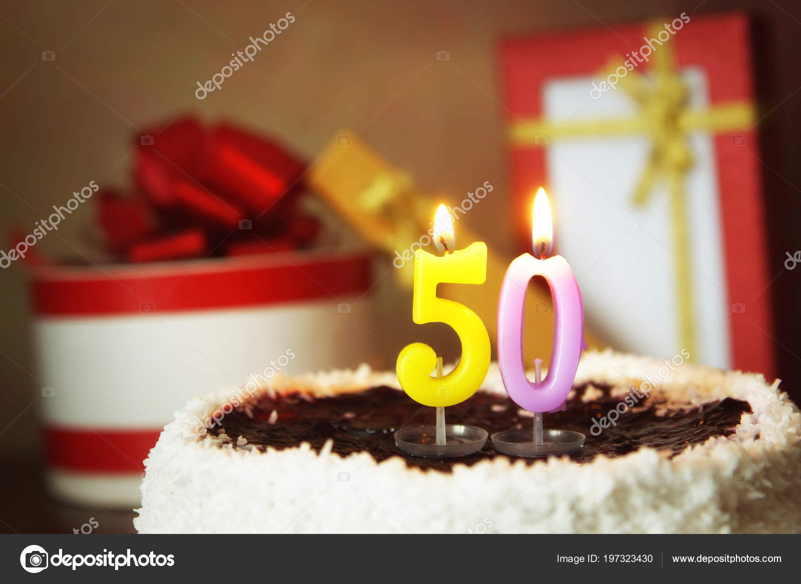 Fifty Years Birthday Cake Burning Candles Gifts Stock Photo