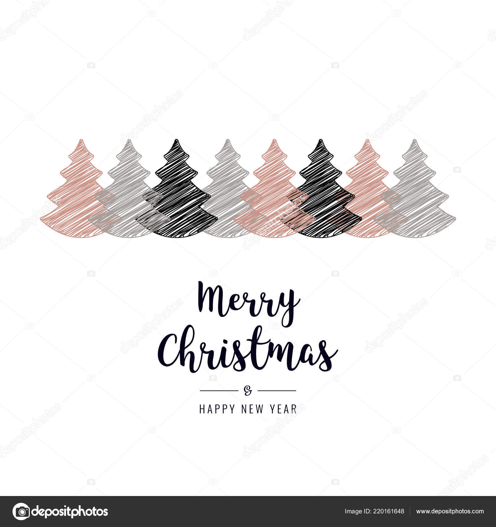 Christmas Tree Scribble Drawing Greetings Isolated Background Vector Image By C Graphicgum Vector Stock 220161648