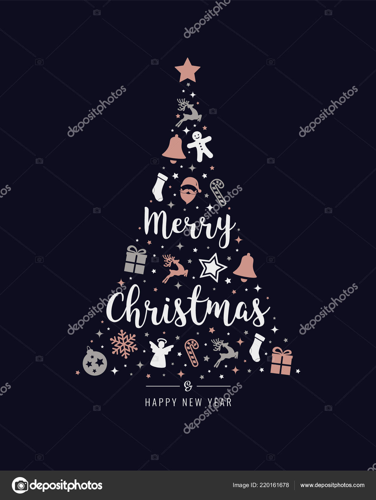 Christmas Tree Rose Gold Icon Elements Lettering Blue Background Vector Image By C Graphicgum Vector Stock 220161678