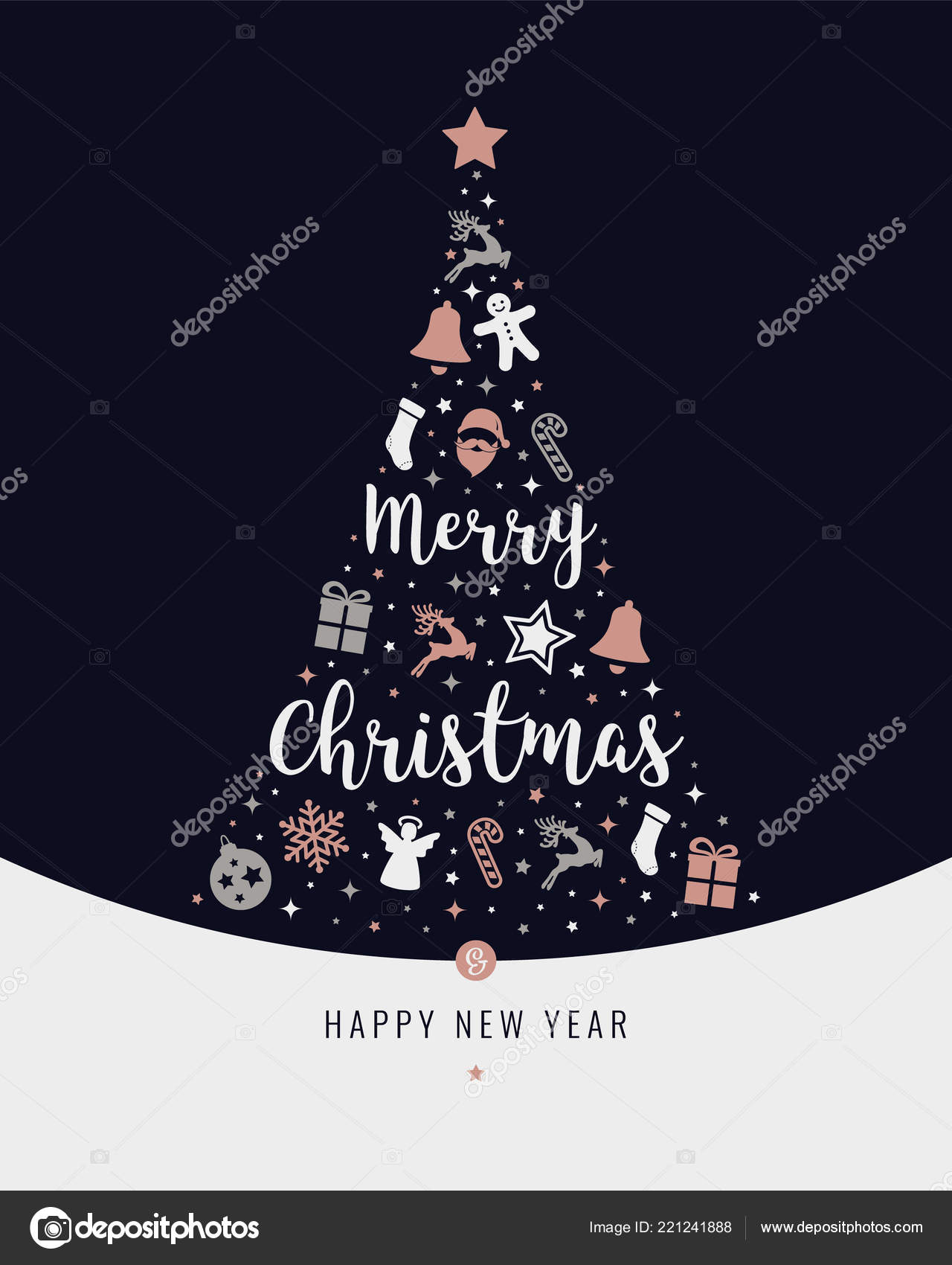 Christmas Tree Rose Gold Icon Elements Lettering Blue Background Stock Vector C Graphicgum 221241888
