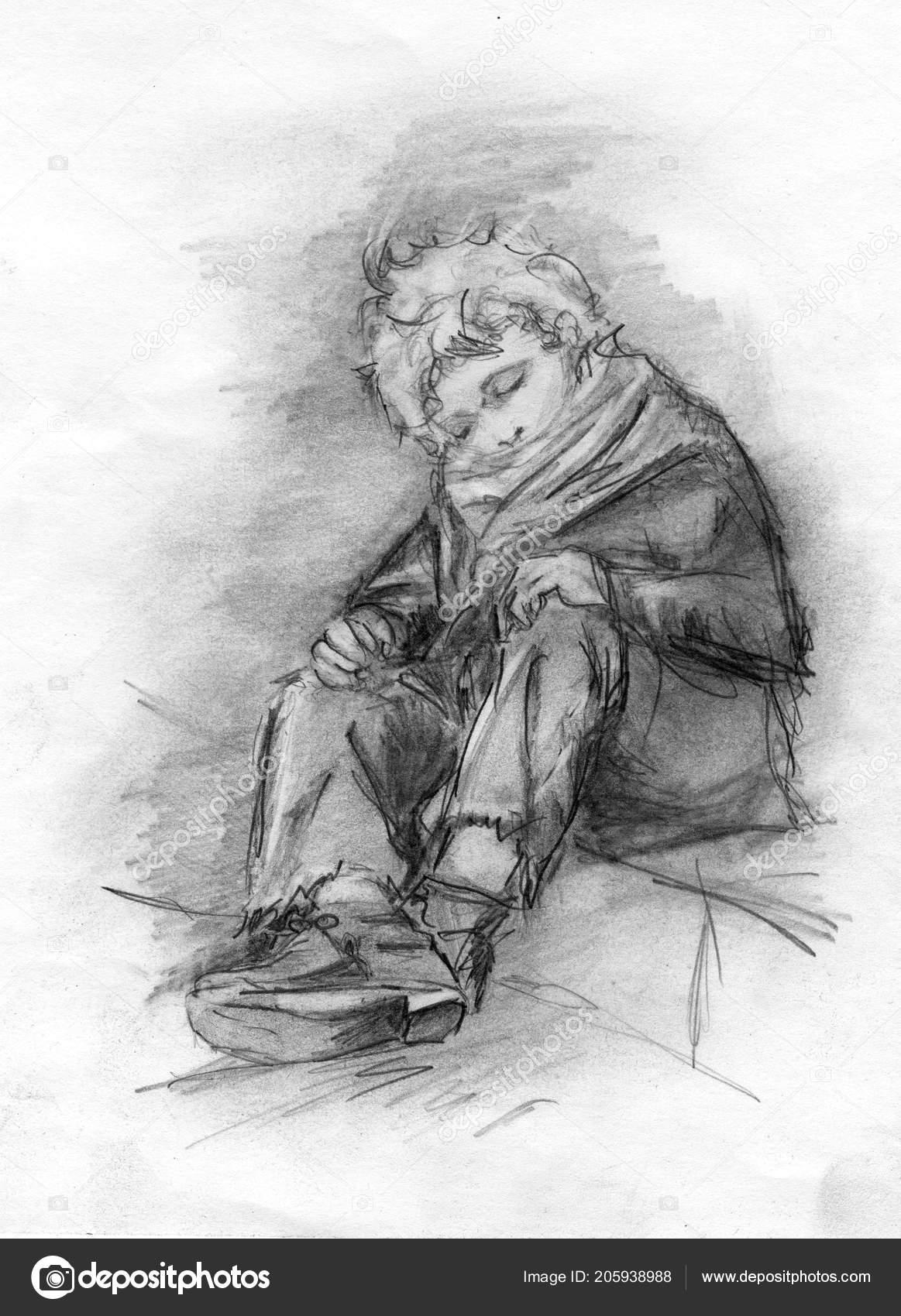 Image homeless sleeping boy pencil drawing stock photo
