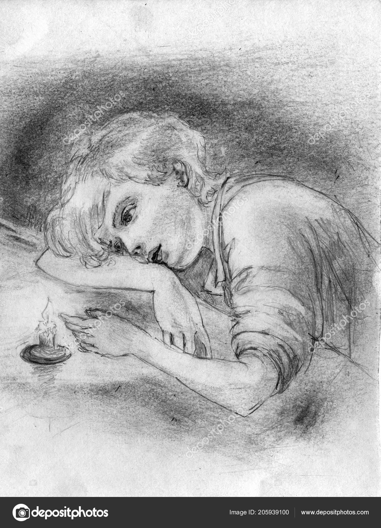 Zamysleny Chlapce Ktery Sedi Stolu Diva Plamen Svicky Kresba Tuzkou