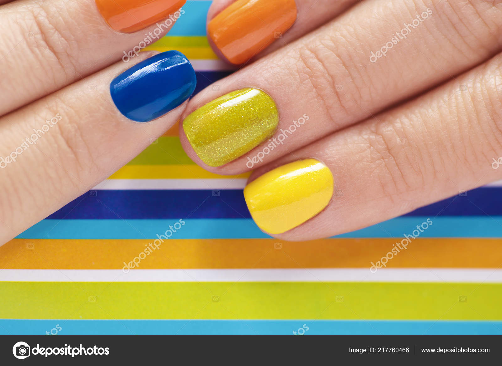 Colorful Bright Manicure Orange Blue Yellow Nail Polish