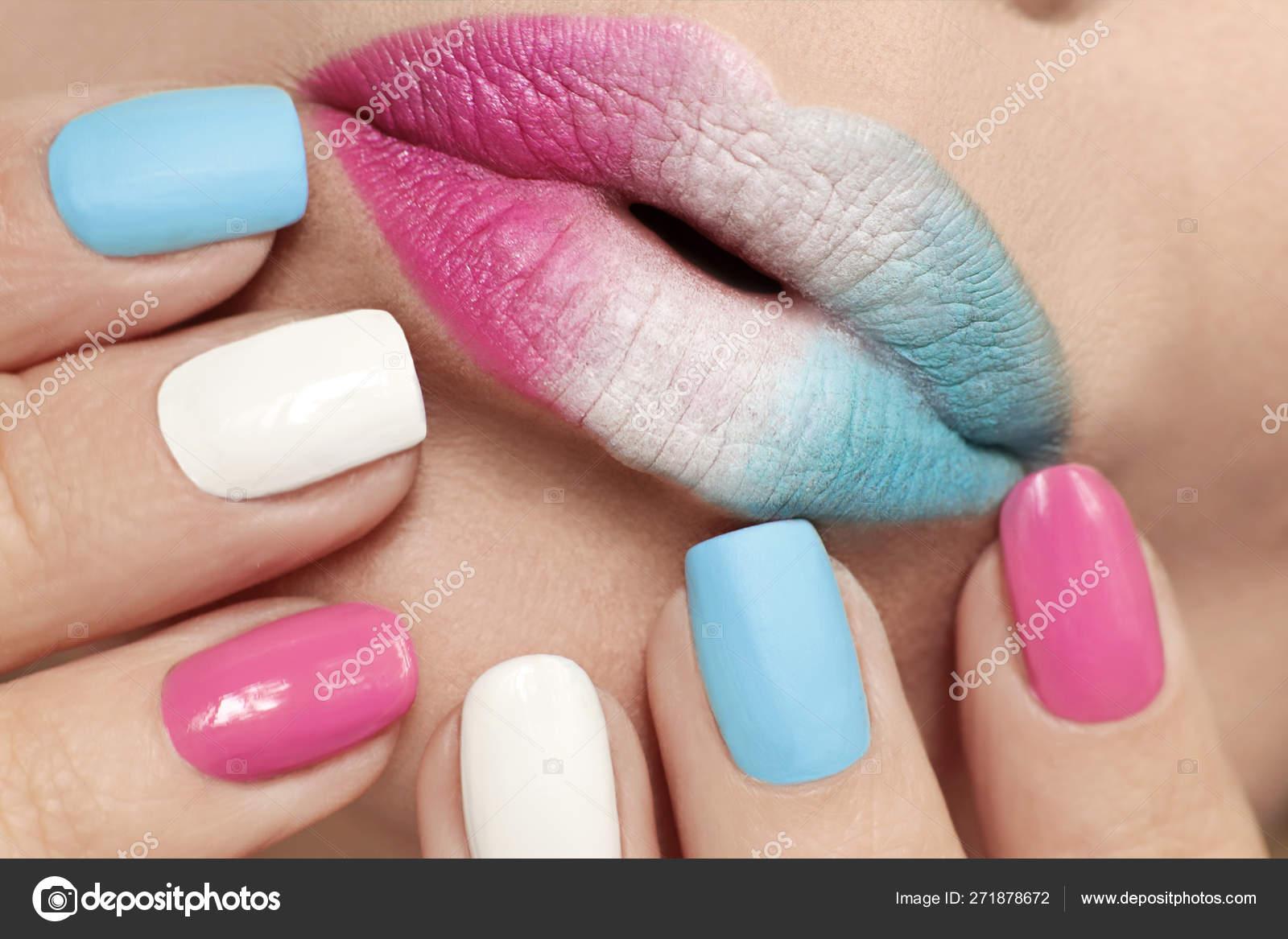 Multi Colored Lip Makeup Nail Design Pink Blue Matte White
