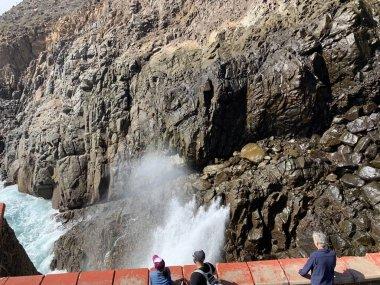 ENSENADA, MEXICO - OCT 25: La Bufadora Blowhole in Ensenada, Mexico, as seen on Oct 25, 2018. It is a marine geyser on the Punta Banda Peninsula in Baja California, Mexico.