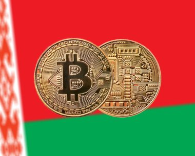 coin bitcoin  and Belarusian flag