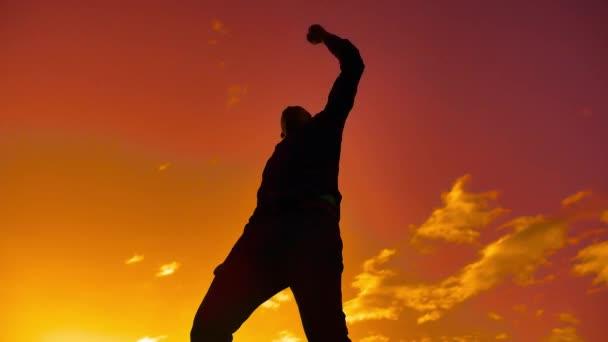 Cítit se jako vítěz silueta ruku člověka čerpání pěstí do vzduchu. muž vítězství podnikatel koncept životní styl