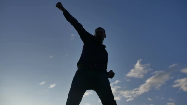 Feeling like a winner Silhouette hand up of man pumping his fist in the air. man lifestyle victory businessman concept