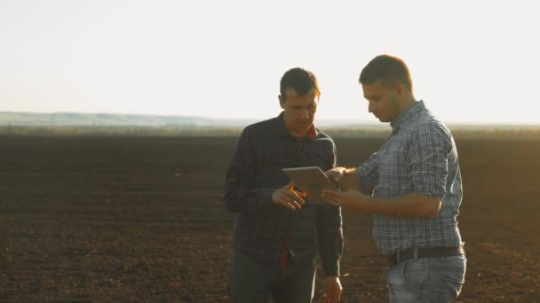 Smart farming two farmers using modern technologies in agriculture. Man agronomist farmer with digital tablet computer in wheat field using apps and the internet, selective focus. two lifestyle