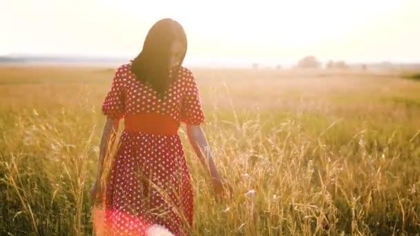 Krásná mladá dívka na poli s květy, užívat si přírody venku zpomalené video. dívka v poli při západu slunce v červených šatech ruku close-up na trávě životní styl sluneční světlo silueta