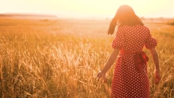 Beautiful young girl walking on field with wildflowers, enjoying nature outdoors Slow motion video. girl in the field at sunset in a red dress hand close-up on the grass sunlight silhouette. woman in