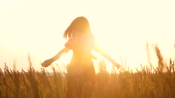 slow motion video. beautiful girl whirls in the field hands in the hand silhouette at sunset sunlight. woman concept freedom joy happiness lifestyle travel