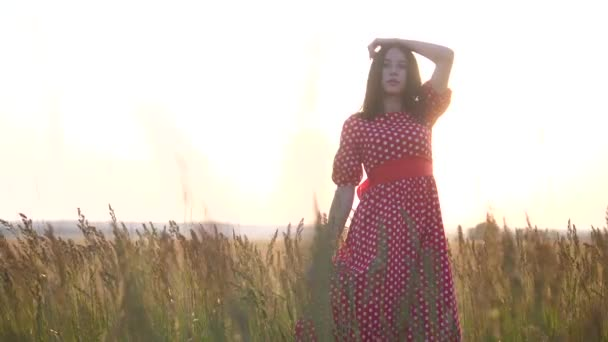 pretty girl brunette portrait large lips wind develops hair portrait in a field at sunset silhouette in a red dress. slow motion video. brunette woman girl hair hairstyle lips strong wind on the