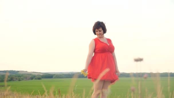 Plusz méretű divat modell a slow motion videót séta a füvön. kövér nő életmód természet mező fű virág nyáron. túlsúlyos a női test. teljes lány hossza portré jellegű fogalom
