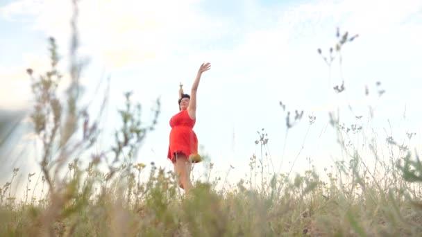 Plus Size Mode-Modell in Slow-Motion-video Fuß auf dem Rasen. Fette Frau auf Natur im Bereich Rasen Blumen Sommer. übergewichtige Frauen Körper. volle Mädchen Länge Lifestyle Portrait Natur Freiheit der