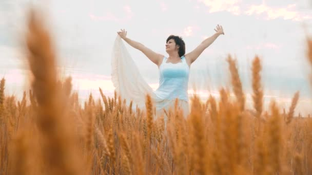 Plus size fashion model in slow motion video walking white dress on field wheat. fat woman on nature in the field grass flowers summer. agriculture overweight female body. full girl length portrait