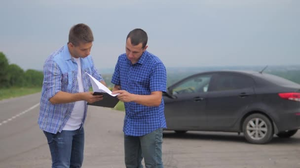 two men make a deal. man seller driver makes car the auto insurance slow motion video. man sale sells used cars. car insurance sale lifestyle of used cars concept