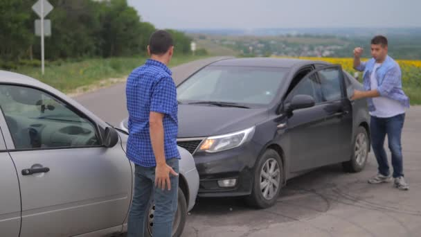 Two men arguing conflict after a car accident on the road car insurance. slow motion video. Two Drivers man Arguing After lifestyle Traffic Accident. auto insurance accident concept men