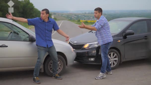 Two men arguing conflict after a car accident on the road car lifestyle insurance. slow motion video. Two Drivers man Arguing After Traffic Accident. auto insurance accident concept men. Two men