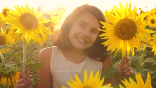 Happy portrait little girl on the field of sunflowers in summer. beautiful lifestyle portrait little girl in sunflowers. slow motion video. girl teenager and sunflowers field concept agriculture