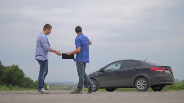 man test drive car.two men make deal. man seller driver makes car the auto insurance slow motion video sale sells used cars. Buying rent a car . lifestyle man car insurance sale of used cars concept