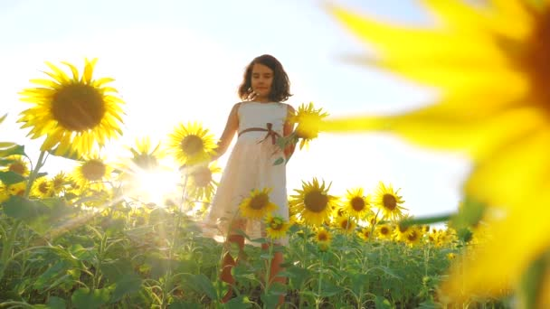 Happy little girl on the field of sunflowers sunlight in summer. beautiful sunset little girl in sunflowers. slow lifestyle motion video. girl teenager and sunflowers field concept agriculture