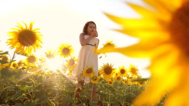 Roztomilé dítě dívka v žlutých zahrada slunečnice slunečního záření v létě. krásný západ slunce malá holčička v slunečnice. zpomalené video. Dívka teenager a životního stylu slunečnice pole koncepce zemědělství