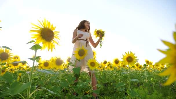 Šťastná holčička na pole slunečnic životního stylu slunečního záření v létě. krásný západ slunce malá holčička v slunečnice. zpomalené video. Dívka teenager a slunečnice pole koncepce zemědělství
