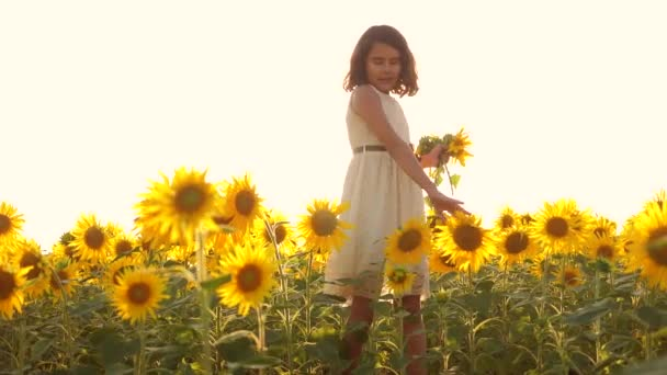 Happy little girl on the field of sunflowers sunlight in summer. beautiful sunset little girl in sunflowers. slow motion video. girl teenager and sunflowers field concept agriculture lifestyle