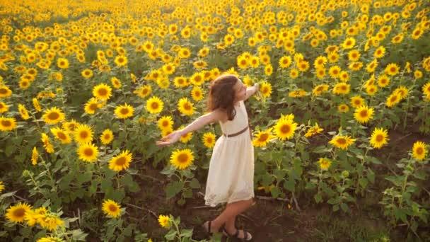 Šťastná holčička na pole slunečnic v létě. krásná holčička v slunečnice. zpomalené video. životním stylem dospívající dívka a slunečnice pole koncepce zemědělství
