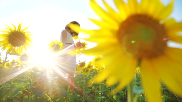 Happy little girl on the field of sunflowers sunlight in summer. beautiful sunset little girl in sunflowers. slow motion video. lifestyle girl teenager and sunflowers field concept agriculture