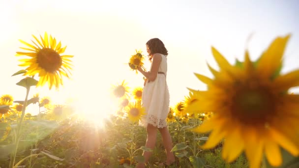 Cute child girl in yellow garden of sunflowers sunlight in summer. beautiful sunset little lifestyle girl in sunflowers. slow motion video. girl teenager and sunflowers field concept agriculture
