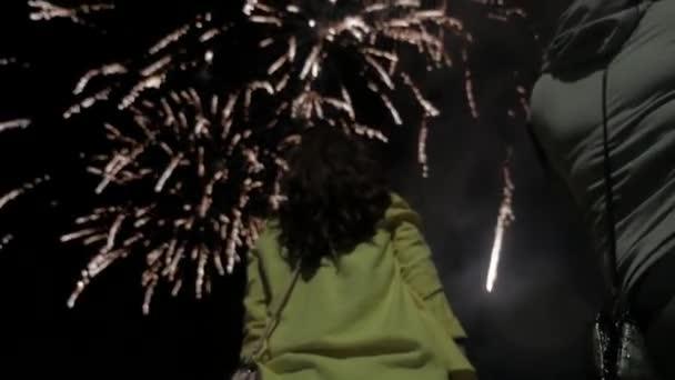 dívka v noci dívá na ohňostroj na obloze. nádherný ohňostroj v noci svátek nový rok životního stylu narozeniny. žena dívka a ohňostroje koncept noc