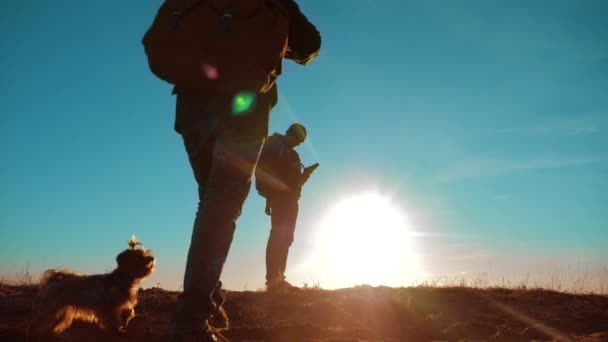 teamwork. two tourists hikers men and dog with backpacks at sunset go hiking trip. slow motion video. journey and hikers the dog go walking. travel mountains silhouette. hikers adventure and the dog